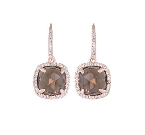 Bronzallure Polished Drop Earring with Smokey Quartz