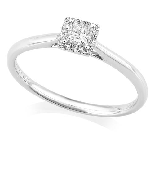 Platinum Princess Diamond Ring With Halo IN660