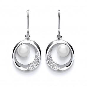Rhodium Plated SIlver Earrings Fresh Water Pearl/C.Z. Drops PUR3631