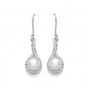 Rhodium Plated SIlver Earrings Fresh Water Pearl/Cubic Zirconia Drops PUR3630ED