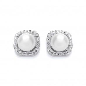 Rhodium Plated Silver Earrings Fresh Water Pearl/Cubic Zirconia Studs PUR3621ES