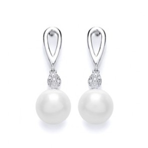 Rhodium Plated Silver Earrings Cubic Zirconia/Fresh Water Pearl Drops PUR3655/1