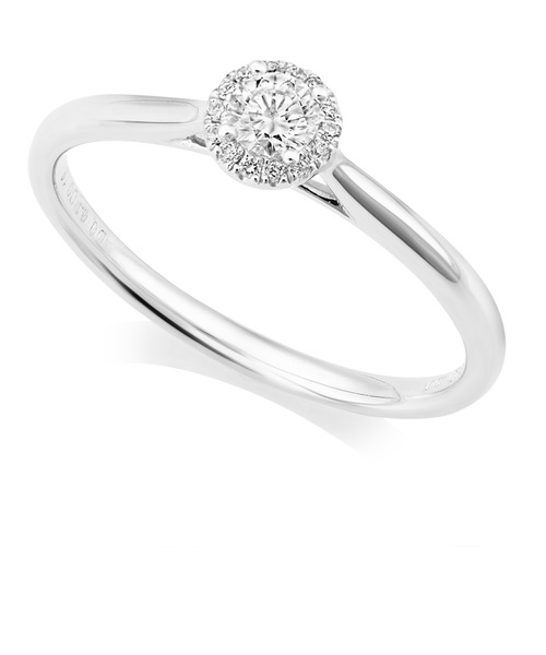 Platinum Round Diamond Ring With Halo IN659