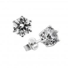 Diamonfire Silver 6 Claw Cubic Zirconia 1.50ct Stud Earrings 62/1264/1/082