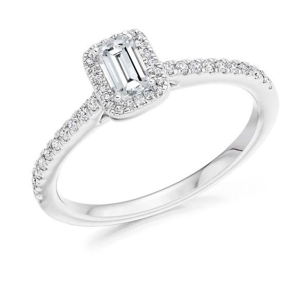 Platinum Emerald Diamond Ring With Halo ENG4042