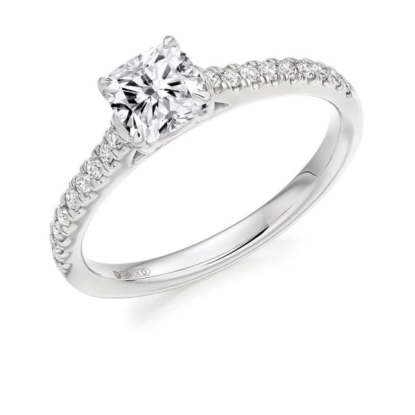 Platinum Cushion Cut Solitaire With Diamond Shoulders ENG4277