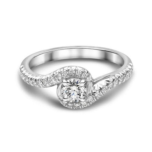 Platinum Single Stone Twist Diamond Ring