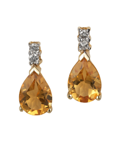 18ct Yellow Gold Citrine and Diamond Earrings