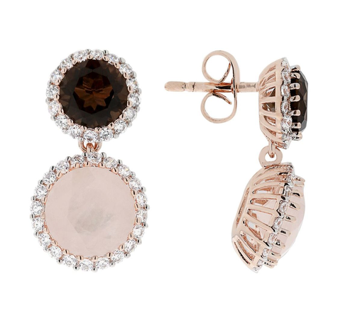Bronzallure Smokey Quartz & Rose Quartz Earrings