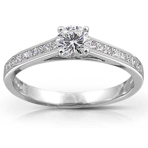 Platinum Diamond Solitaire with Diamond Set Shoulderd