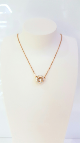 18ct Rose Gold Morganite and Diamond Pendant