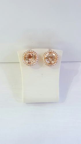 18ct Rose Gold Morganite and Diamond Earrings""