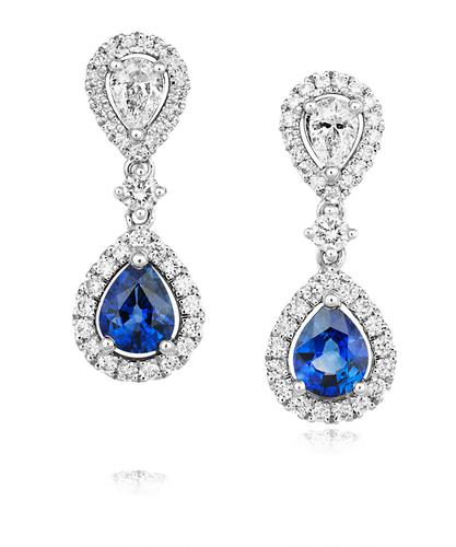 18ct White Gold Diamond & Sapphire Drop Earrings