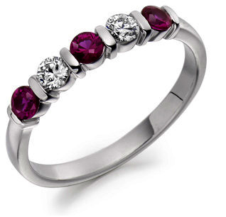 Raphael Ruby & Diamond Half Eternity Ring