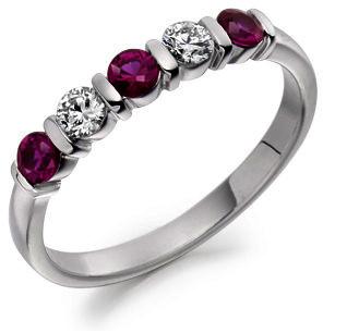 Raphael Ruby & Diamond Half Eternity Ring