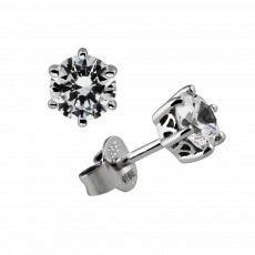 Diamonfire Silver 6 Claw Cubic Zirconia 0.75ct Stud Earrings 62/1266/1/082