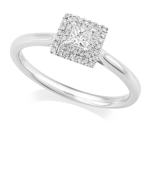 Platinum Princess Cut Diamond Ring With Double Halo IN666
