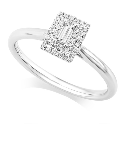 Platinum Emerald Diamond Ring With Double Halo IN663