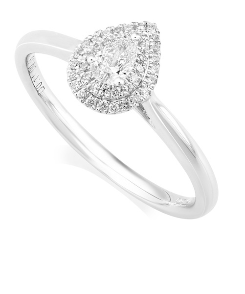 Platinum Pear Diamond Ring With Double Halo IN664