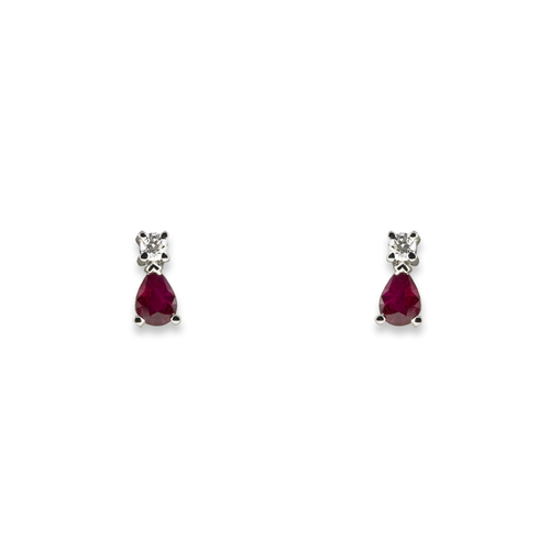 18ct White Gold Diamond & Ruby Earring 10-14-009
